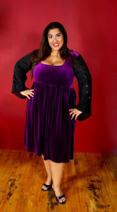 S0810VSQX Empire Waist Dress with Goth SleevesShown: Purple Velvet and Blk Dainty Floral Sequin Mesh.
