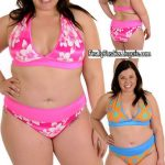 S0724PL 2 piece print lycraswim set includes lined halter top ties around the neck with a solidband around the back. Includes matching lined full back bottoms.