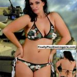 S0825PL Plus size scrunch butt bikini swimwear features a low rise scrunch butt design which enhances the bootyand long thick tie sides and matching triangle bikini top.