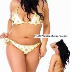 S0827FLX Plus size metallic polka dot scrunch butt bikini withlined top and tie sides.
